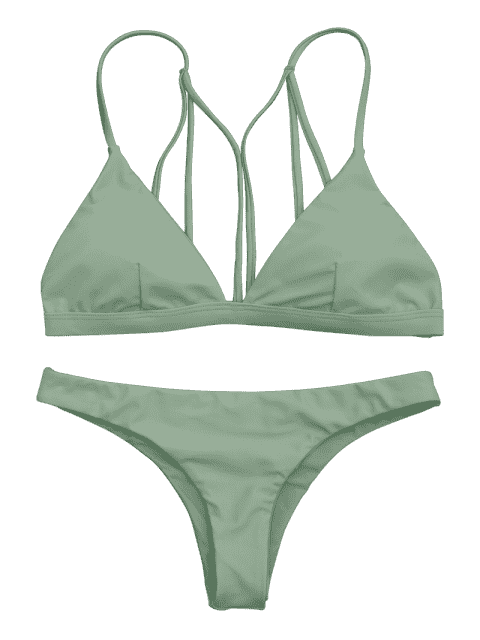 lady Padded Back Strappy Bathing Suit - GREEN L Mobile