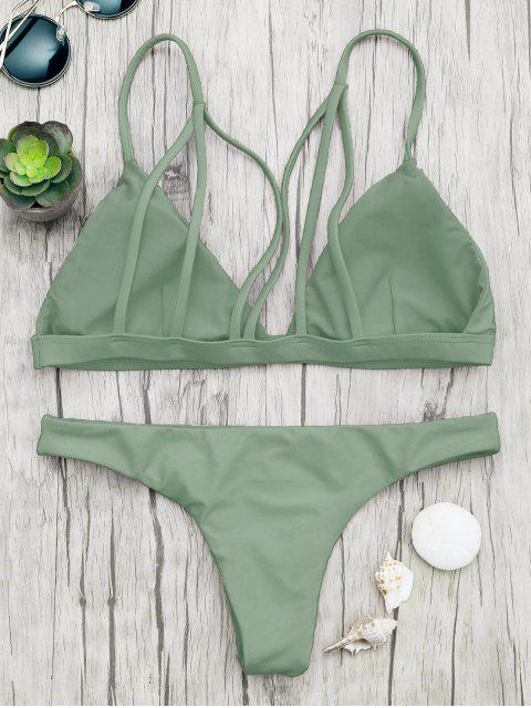best Padded Back Strappy Bathing Suit - GREEN M Mobile