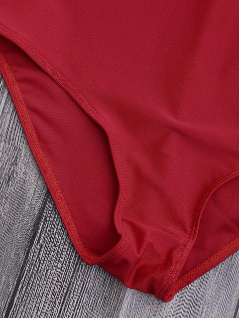 latest Off Shoulder Ruffled One Piece Swimsuit - RED M Mobile
