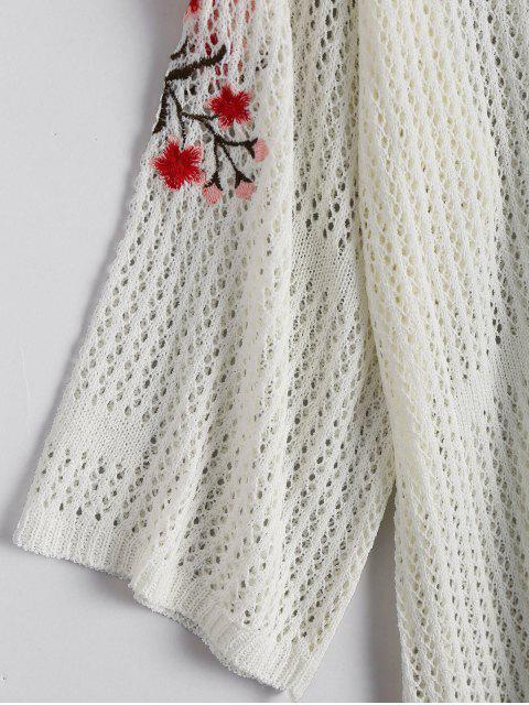shop Sheer Floral Embroidered Sweater Dress - WHITE ONE SIZE Mobile