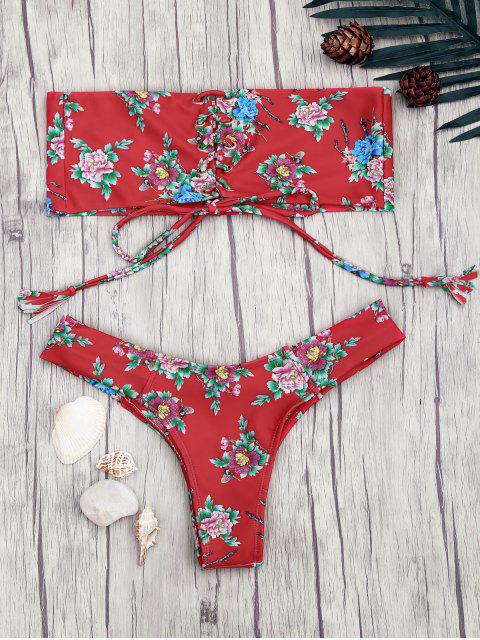 fashion Lace Up Floral Print Bandeau Bikini Set - RED S Mobile