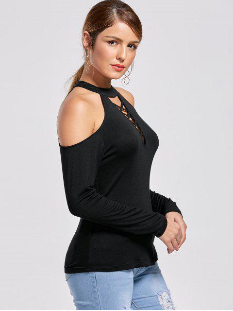 shops Cutout Cold Shoulder Fitted Top - BLACK M Mobile