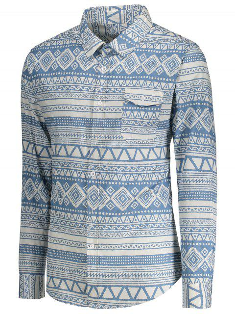 online Pocket Geometric Pattern Shirt - BLUE AND WHITE XL Mobile