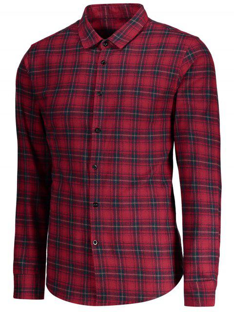 fancy Checked Button Up Shirt - RED M Mobile