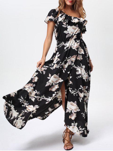8d8e2457c944d فستان كشكش منحرف الرقبة عالية انقسام ماكسي - أسود Xl