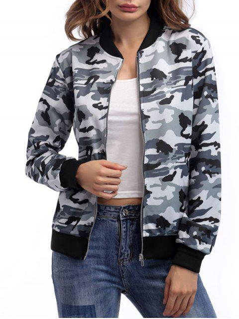 Zip Up Camouflage Jacke - Camouflage Grau S Mobile