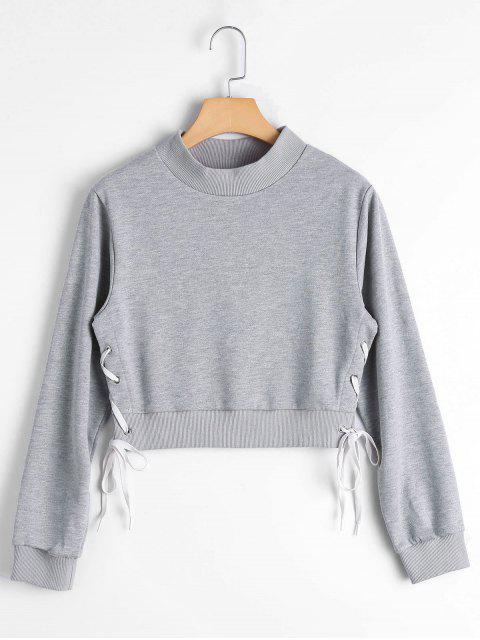 lady Side Lace Up Crop Sweatshirt - GRAY M Mobile