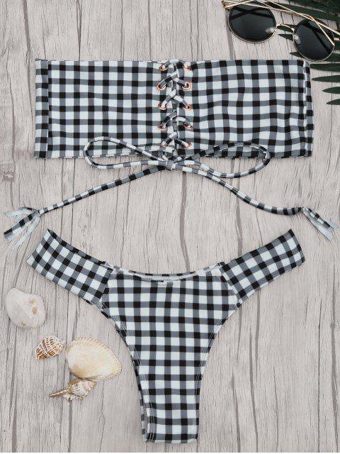 Gingham Schnürung Bandeau Bikini Set - Weiß & Schwarz S Mobile