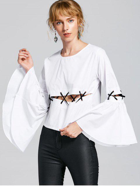 Blusa con cordones - Blanco M Mobile