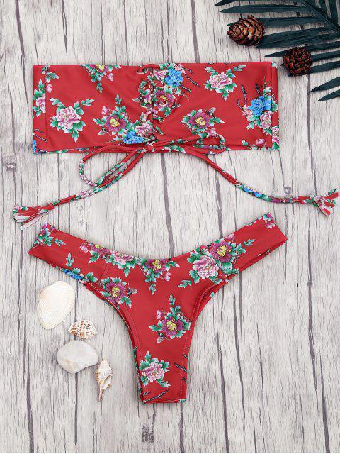 Encaje hasta el bikini Bandeau bikini floral - Rojo M Mobile