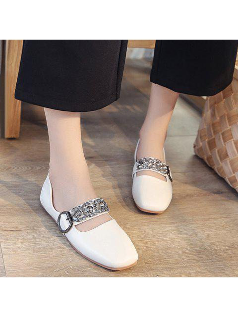 ladies Rhinestone Buckle Strap Low Heel Flats - WHITE 37 Mobile