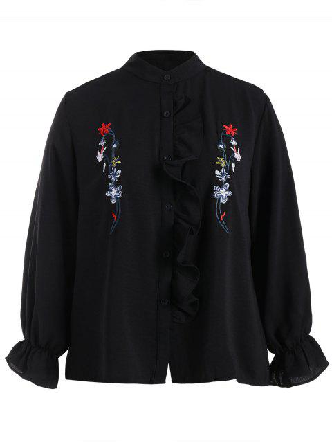 fashion Plus Size Flounce Floral Embroidered Shirt - BLACK 3XL Mobile