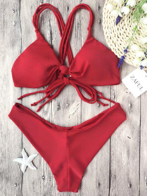 Set de bikini ajustable de múltiples vías y nudo de nudo - Rojo S Mobile