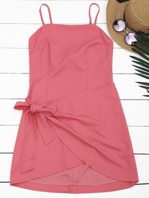 Cut Out Bowknot Mini Slip Dress - Pastèque Rouge S