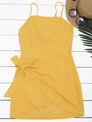Cut Out Bowknot Mini Slip Dress - Jaune L