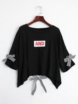 Camiseta De La Impresión De La Letra Del Hombro De La Gota - Negro