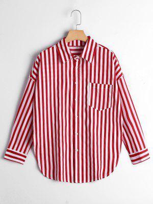 Chemise De Poche à Rayures à épaule Boutonnée - Rouge Bande S