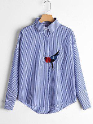 Bird Patched Drop Shoulder Striped Shirt - Blue S