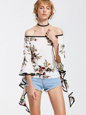 Off The Shoulder Spiral Sleeve Floral Blouse - Floral M