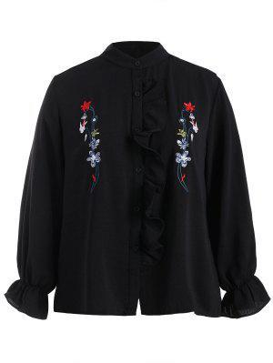 Camisa bordada floral de Flounce de la talla grande