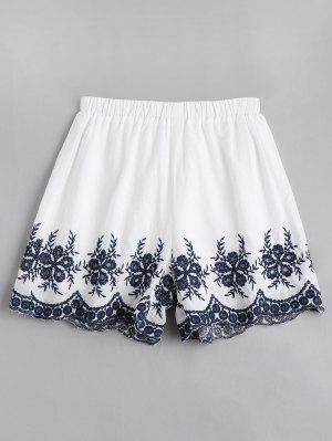 Floral Embroidered High Waisted Shorts - White Xl