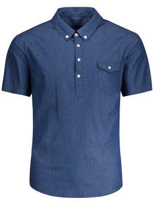 Pocket Short Sleeve Denim Shirt - Blue 2xl
