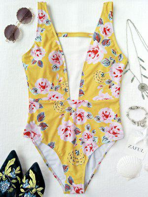 One Piece Plunging High Cut Floral Swimwear - Yellow M