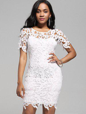 Lace Cutwork Pencil Dress With Cami Dress - White M