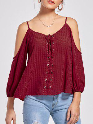 Lace Up Cold Shoulder Blouse - Wine Red M