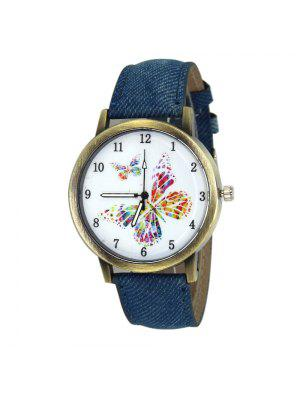 Faux Leather Strap Butterfly Face Watch - Bleu