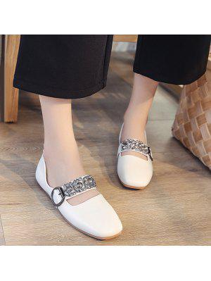 Flache Schuhe mit quadratischen Zehen und Strass , Schnalle
