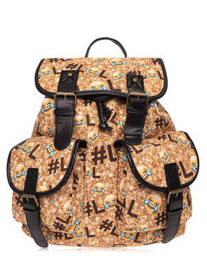 Buckles Emoji Printed Backpack