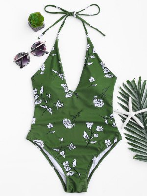Printed V Neck Slimming One Piece Swimsuit - Green M