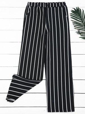 Pantalones Anchos Rayados De Cintura Alta - Raya S