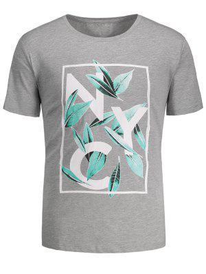 T-Shirt mit Blattdruck und Grafik