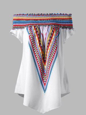Blouse Tunique Elastique Colorée à Epaule Tombante Grande Taille