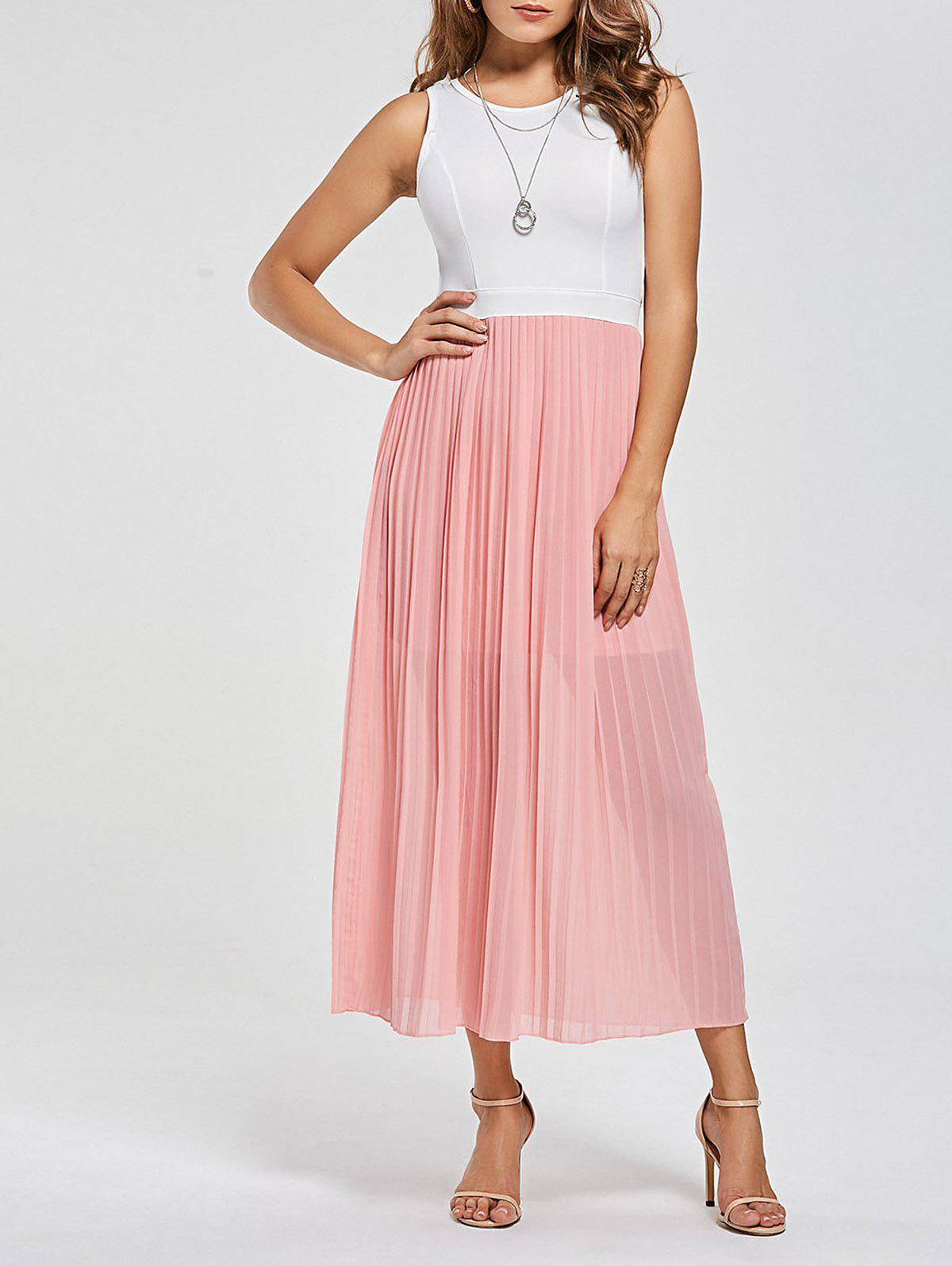Cut Out Chiffon Maxi Pleated Dress 219679801