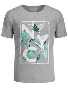 Camiseta Gráfica Impresa Hoja - Gris M