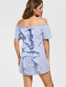 Robe Rayée à L'épaule Ruffles - Bleu Clair S