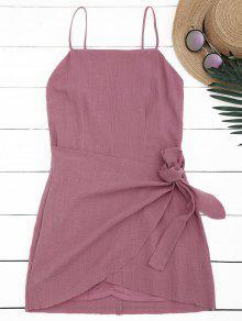 Slit Knotted Mini Slip Dress - Russet-red L