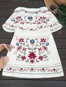 Overlay Floral Embroidered Tube Dress - White L