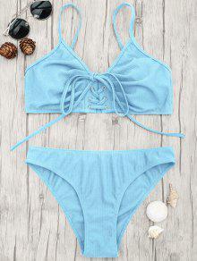 Eyelets Lace Up Bralette Bikini Set - Light Blue S