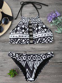 Criss Cross Halter Cropped Bikini Set - M