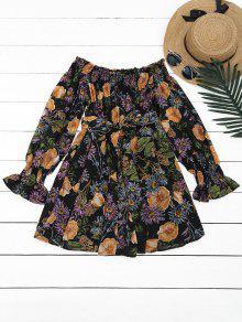 Floral De Hombro Mini Vestido - Floral S
