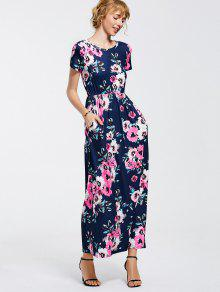 Floral Print Round Collar Maxi Dress - Purplish Blue M