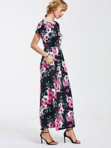 43ac01a46 العربية ZAFUL | أسود فستان ماكسي دائرة الرقبة طباعة الازهار 2019 [41 ...
