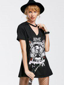 Casual Graphic Choker Tee Dress - Black S
