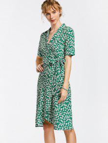 Floral Wrap Dress - Floral L