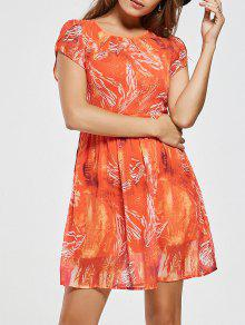 فستان من الشيفون المطبوع، على شكل حرف (أيه) - أحمر برتقالي 2xl