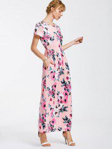 Floral Print Round Collar Maxi Dress - Pink S